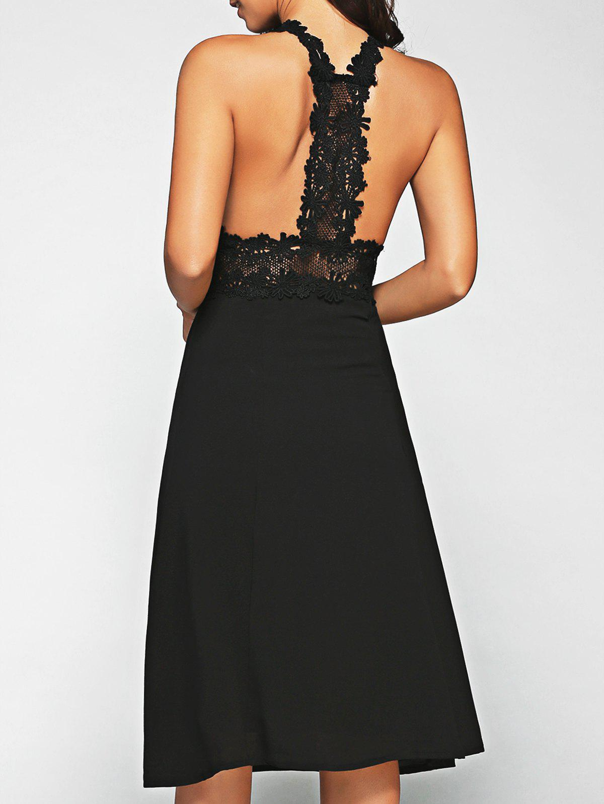 Lace Racerback Midi Dress - BLACK XL
