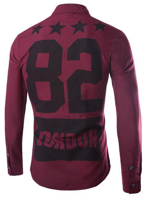 Stars and Letter Printed Long Sleeve Shirt - WINE RED XL