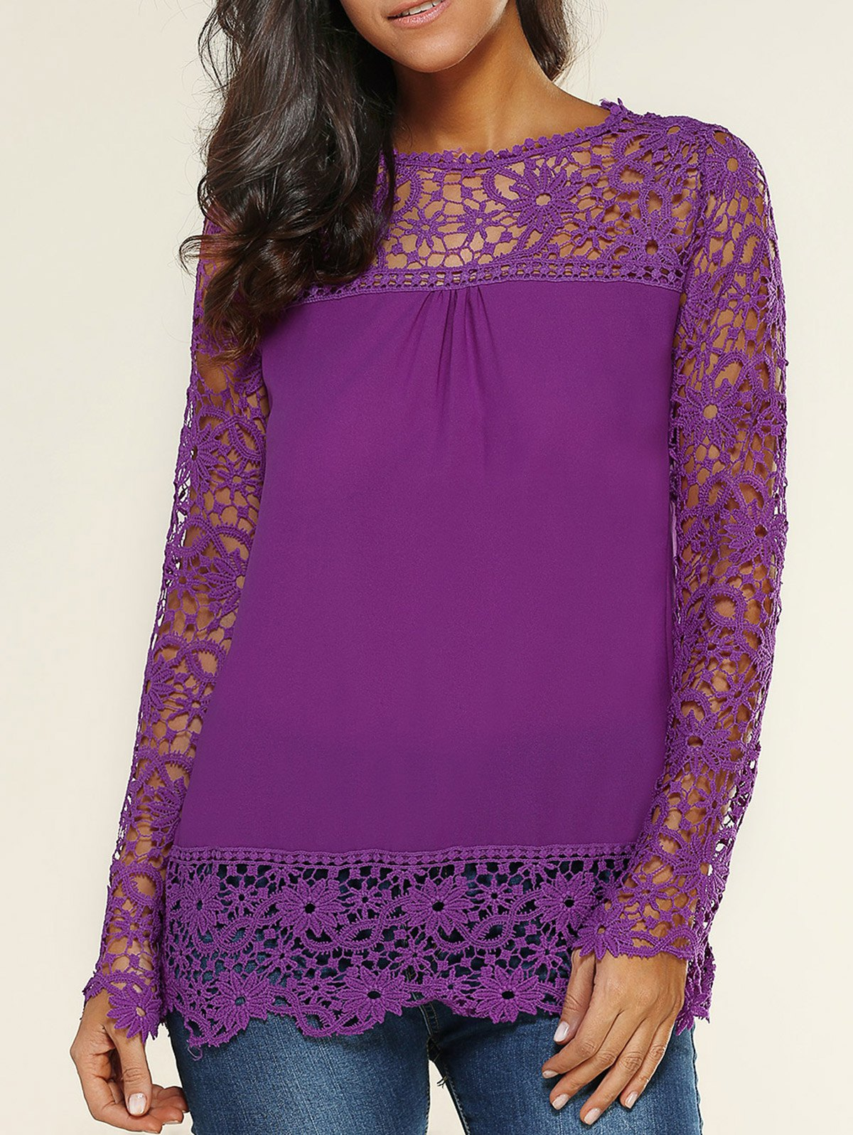 Lace Spliced Floral Crochet Openwork Blouse - PURPLE L