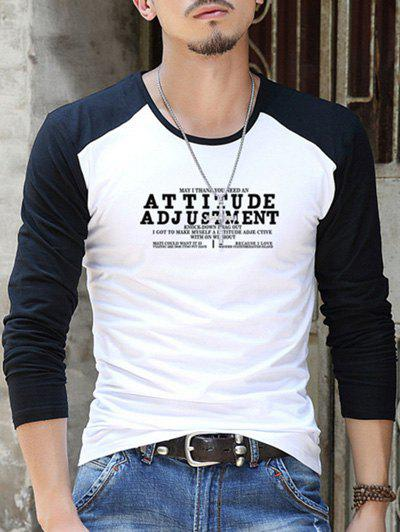 Letter Print Round Neck Contrast Sleeve T-Shirt - WHITE 2XL