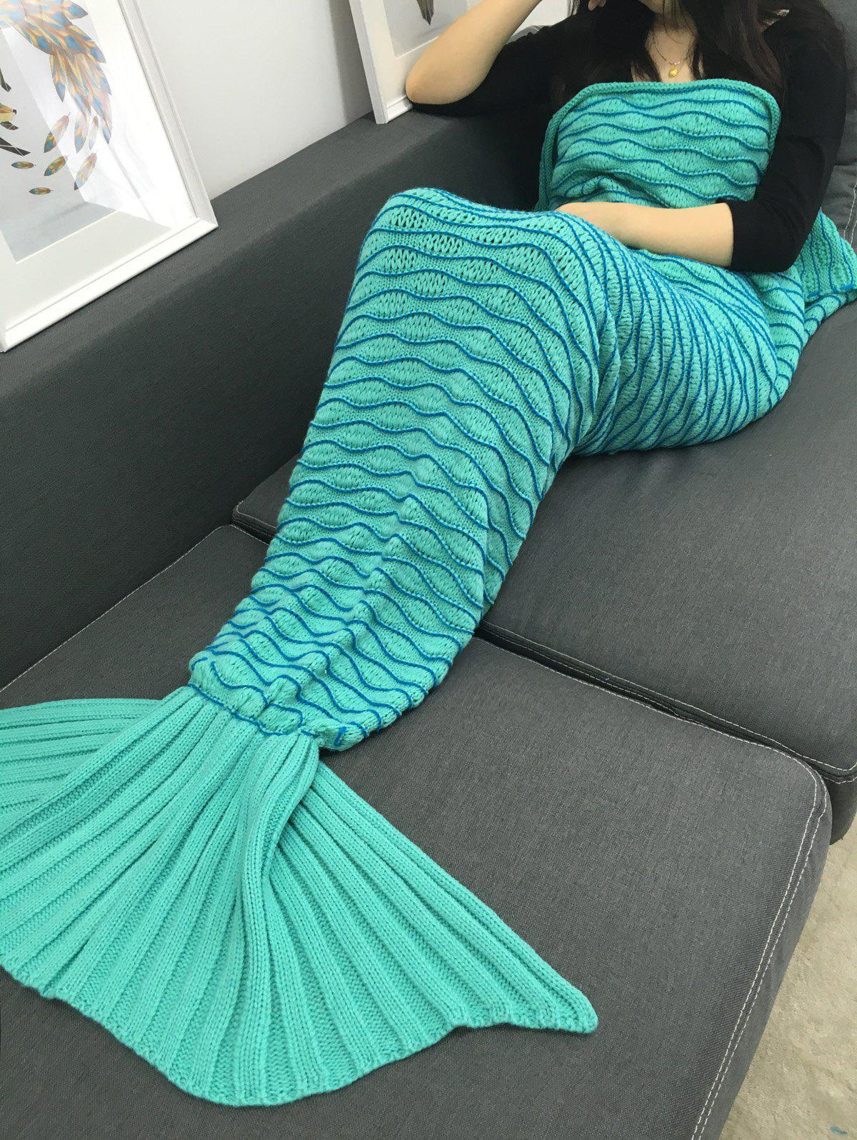 Portable Knitting Wave Stripe Mermaid Tail Design Blanket - LIGHT GREEN