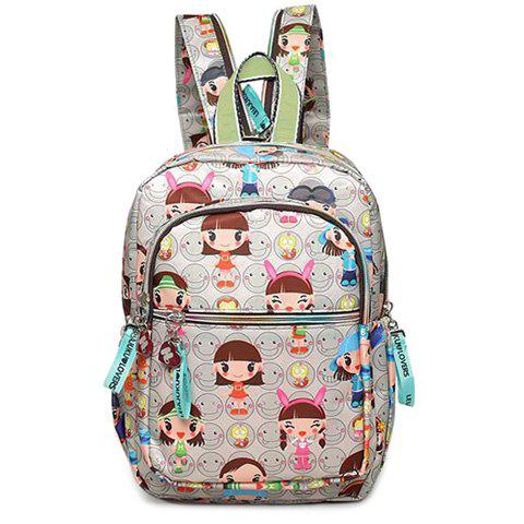 Casual Multicolor and Girl's Print Design Women's Satchel - LIGHT GRAY
