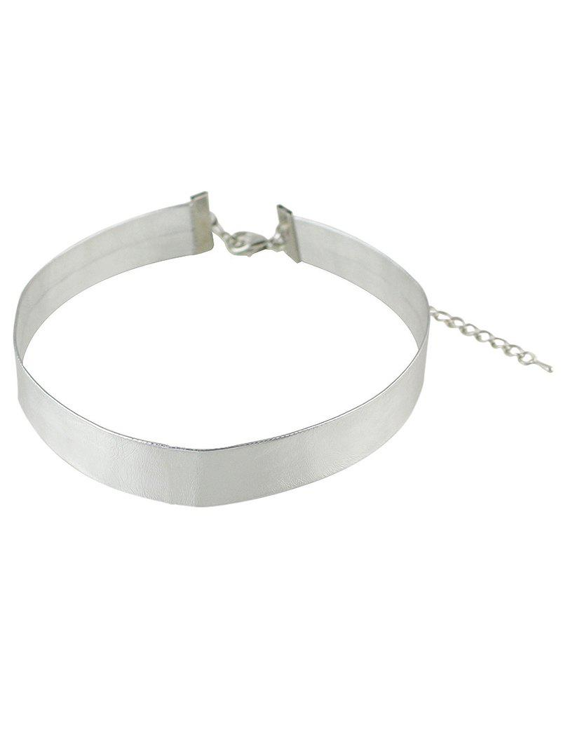 Adjustable Faux Leather Choker Necklace
