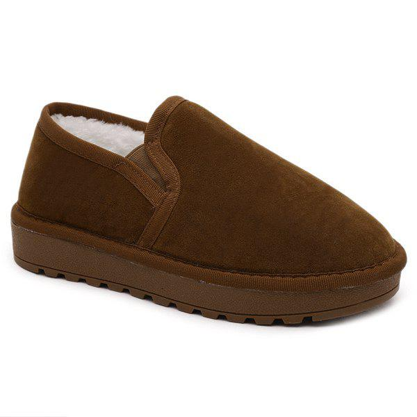 Flock Chaussures Sombre Couleur Elastic Band Flat - Brun 41
