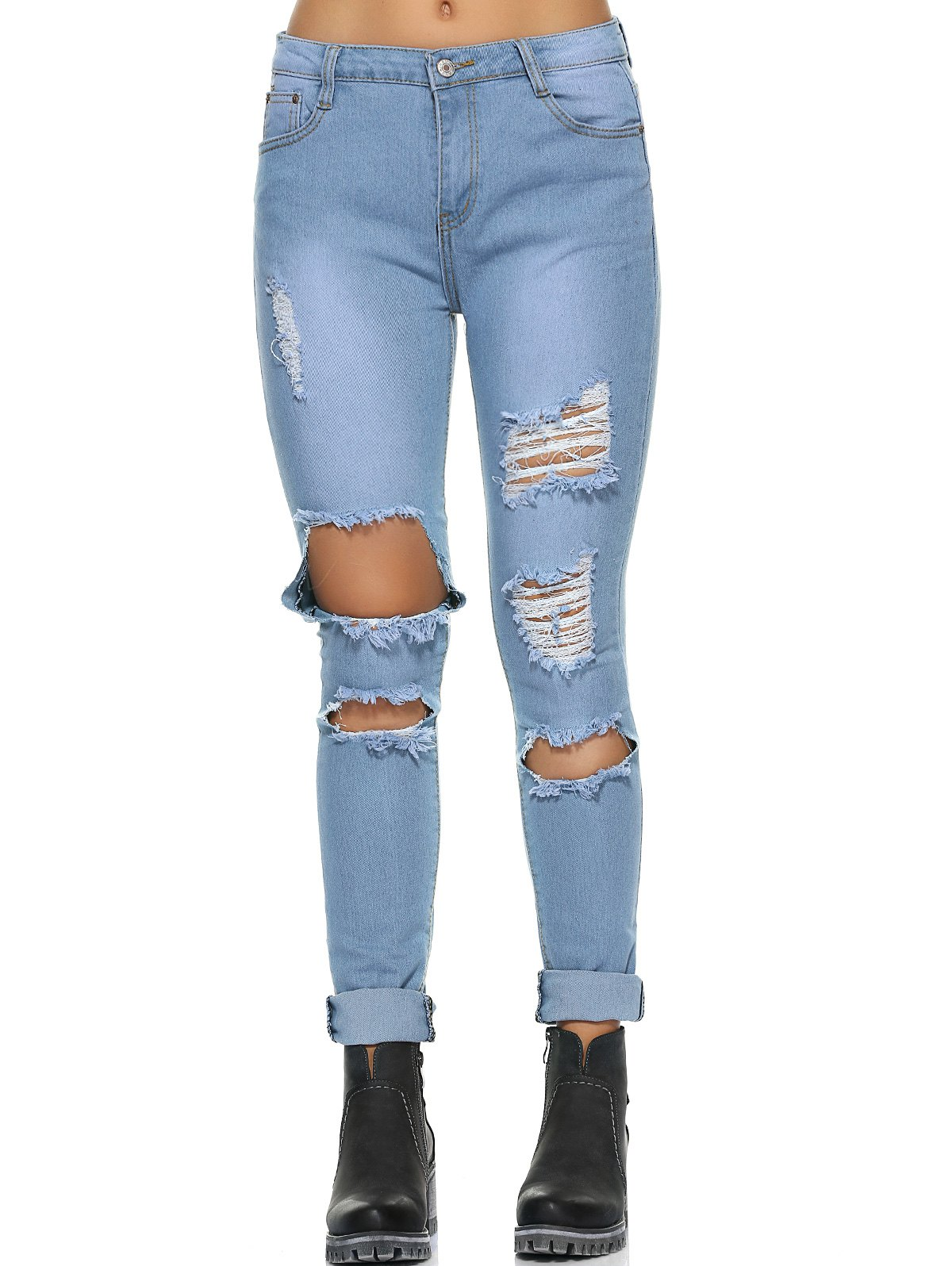 Casual Do Old Ripped Jeans - LIGHT BLUE S