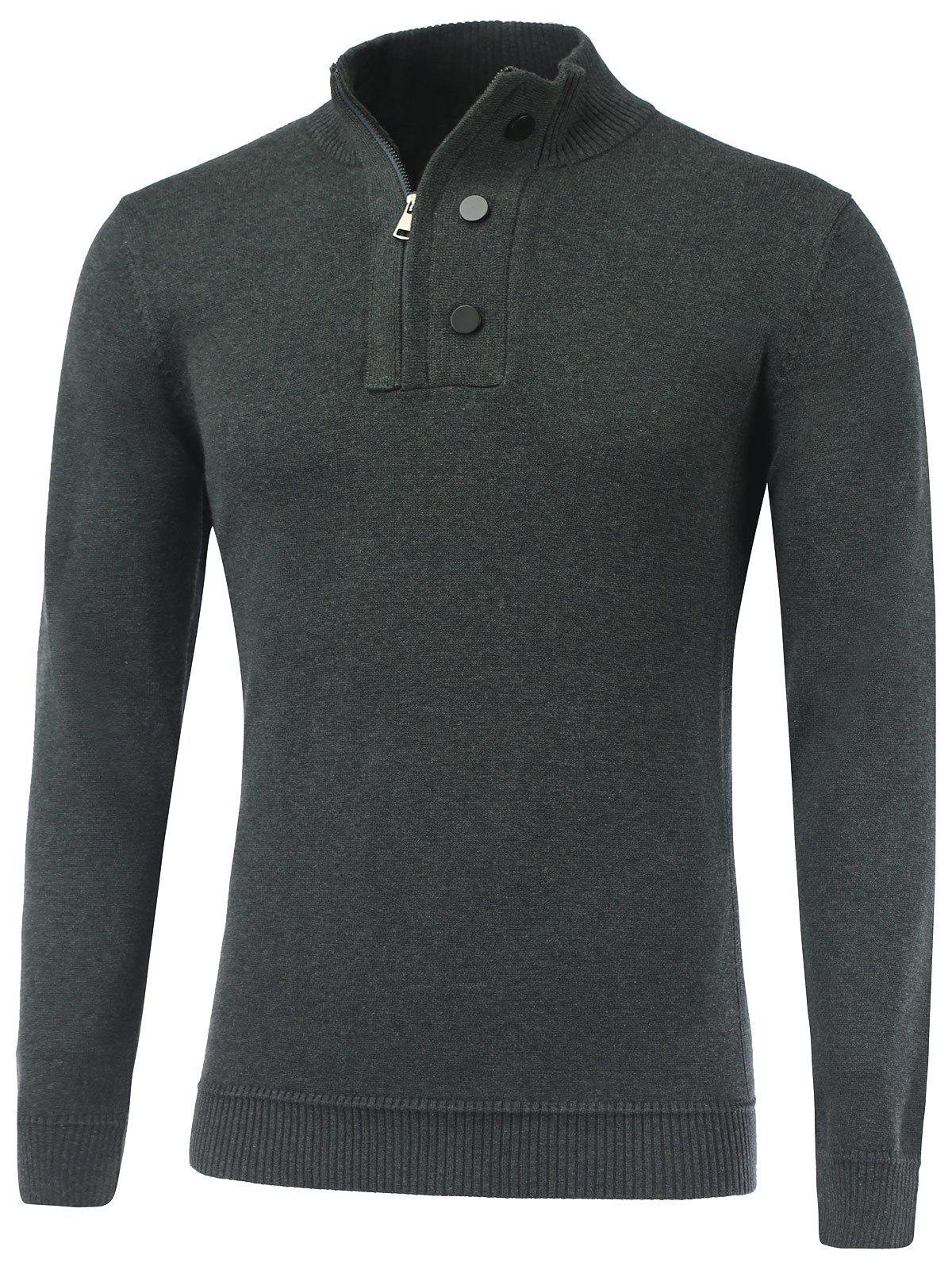 Ribbed Stand Collar Half-Zip Sweater - DEEP GRAY XL