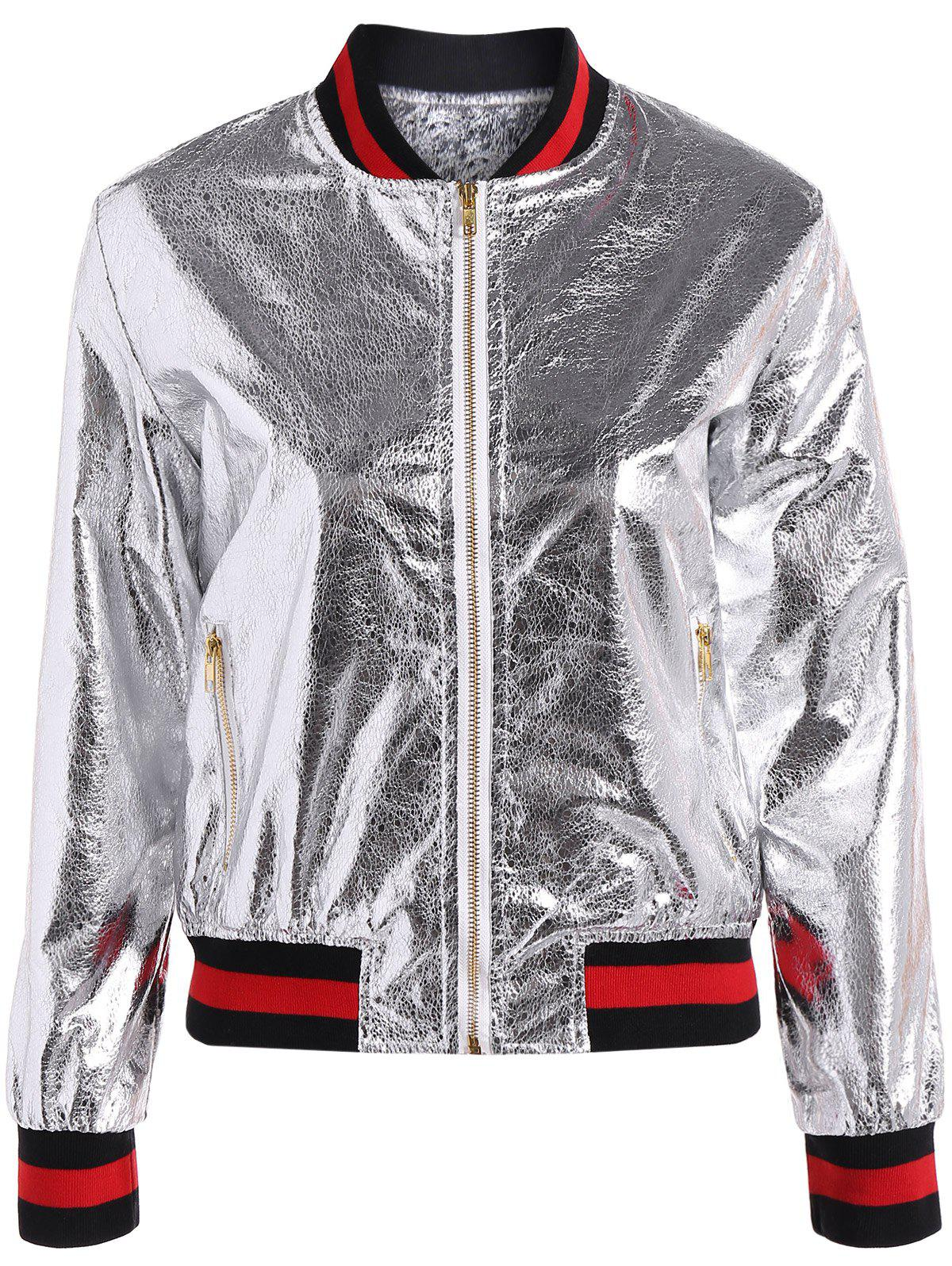 Slim Zipper Fly PU Bomber Jacket - SILVER XL