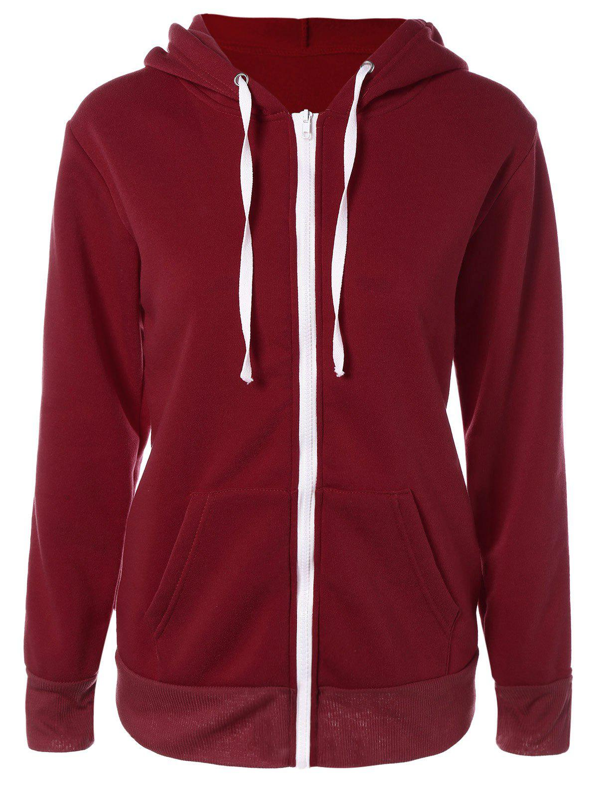 Solid Color Zip Up Fleece Warm Hoodie - WINE RED S