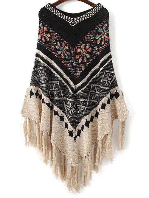 Sequined Jacquard Knit Poncho - BLACK ONE SIZE