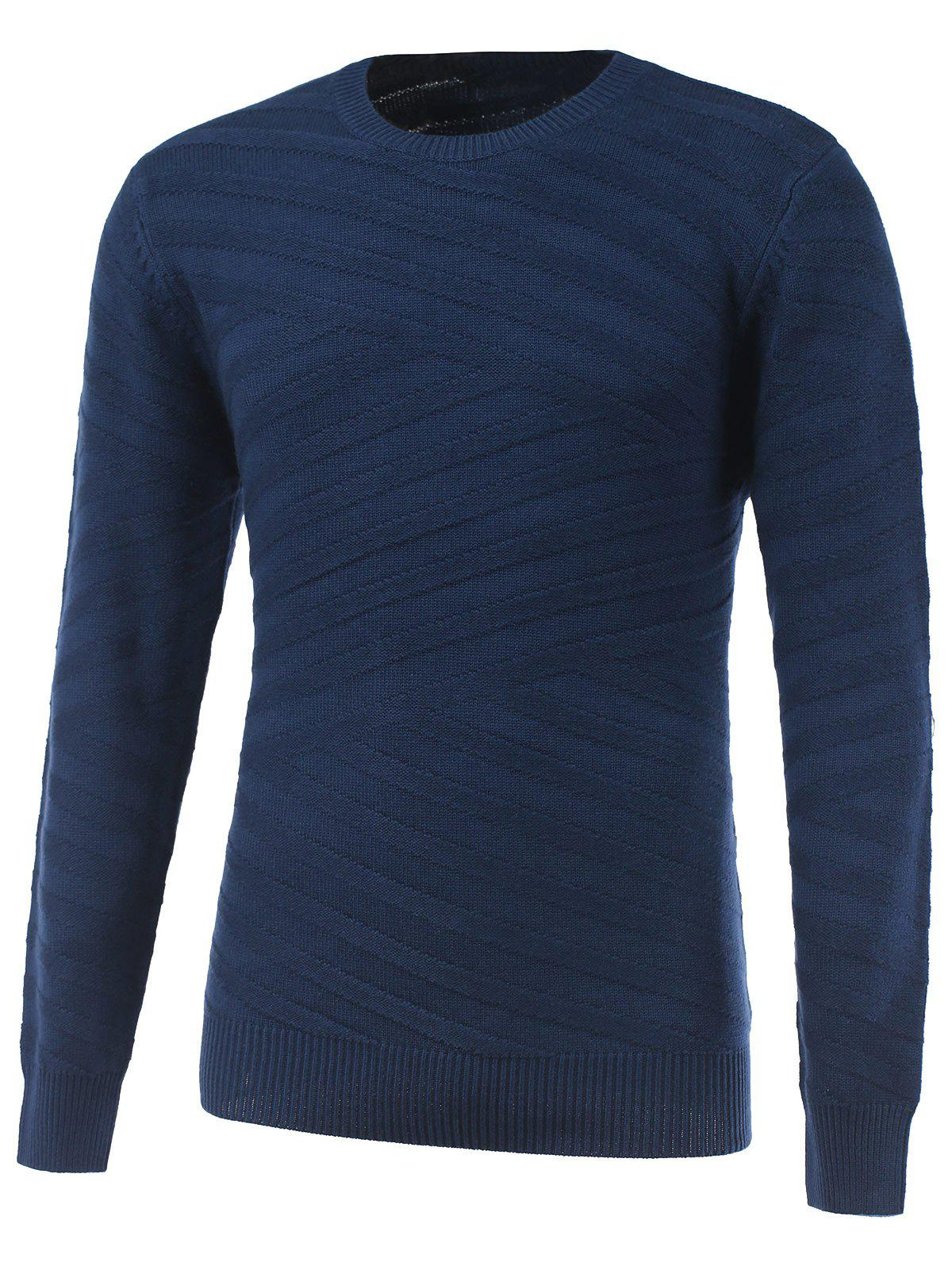 Long Sleeve Round Neck Ribbed Pullover Sweater - SAPPHIRE BLUE XL