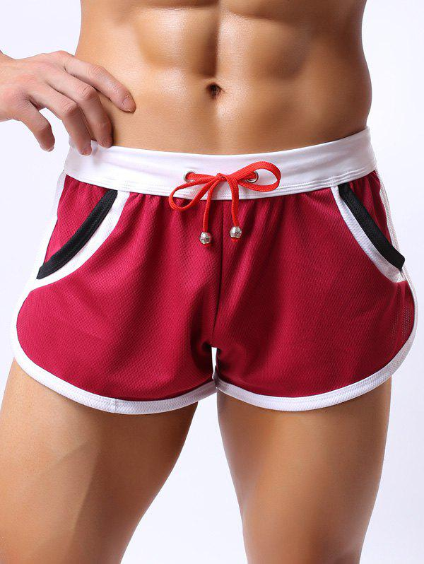Lace-Up Color Block Splicing Design Home Shorts - RED M