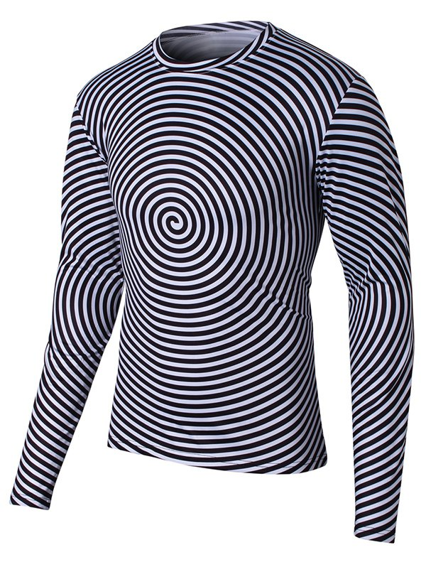 Round Neck Long Sleeve Swirl Print T-Shirt - BLACK 2XL