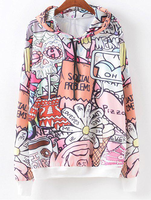Cartoon Letter Pattern Hoodie - COLORMIX L