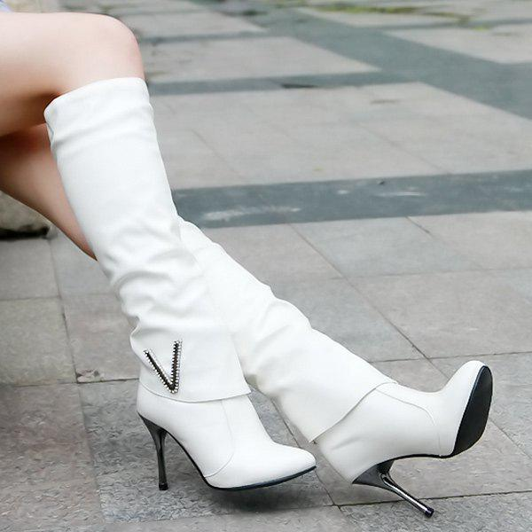 Pointed Toe Stiletto Heel Ruched Knee-High Boots - WHITE 38