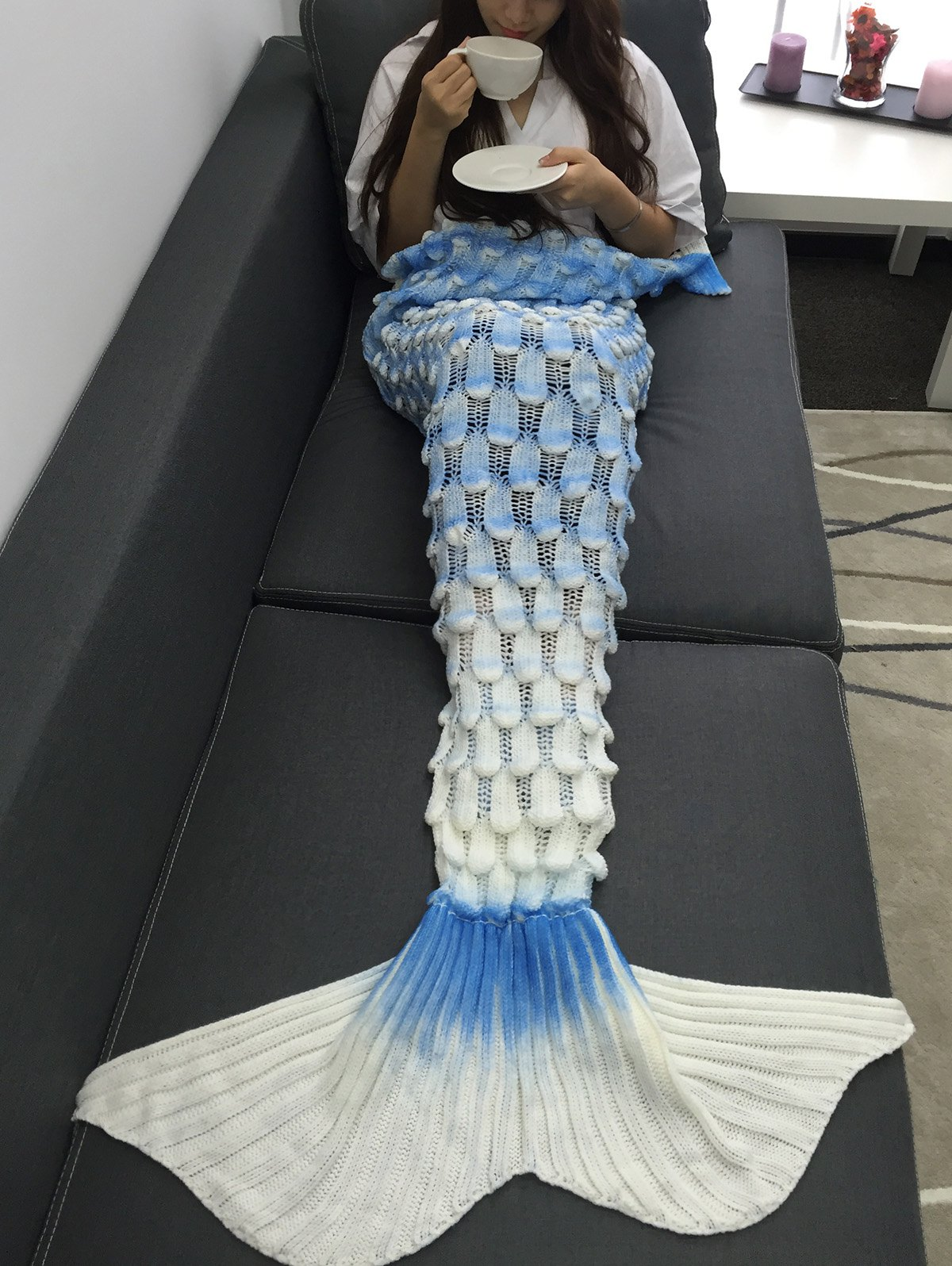 Soft Openwork Design Ombre Color Knitted Mermaid Blanket - COLORMIX