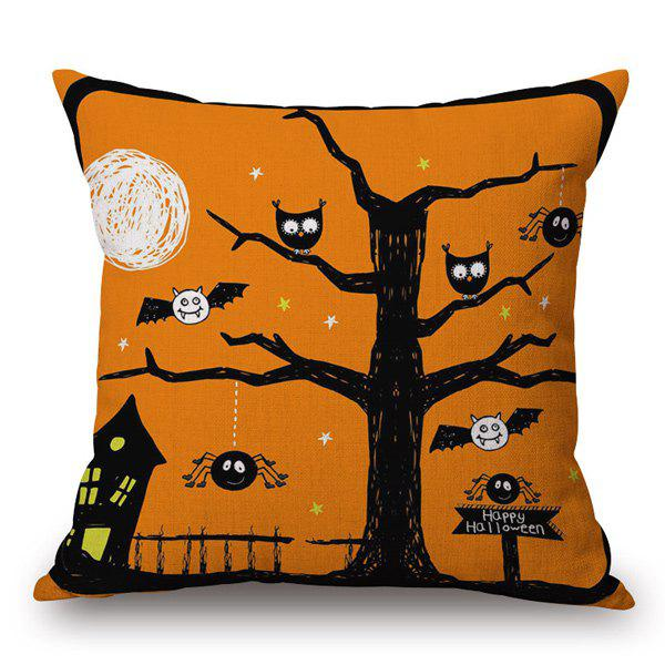 Cartoon Owl Bat Sofa Cushion Pillow Halloween Case - Orange