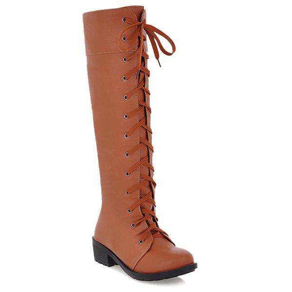 Low Heel PU Leather Lace Up Boots - LIGHT BROWN 37