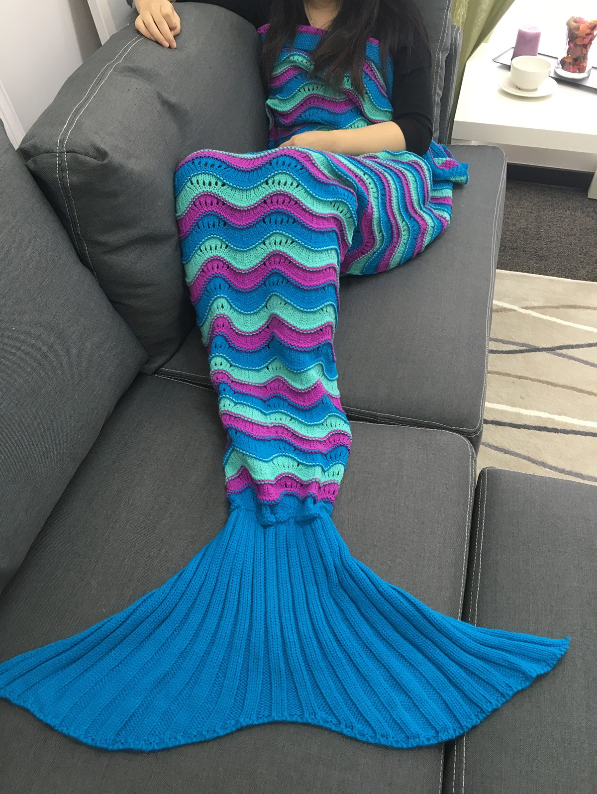 Comfortable Color Block Crochet Knitting Mermaid Tail Design Blanket цена 2017