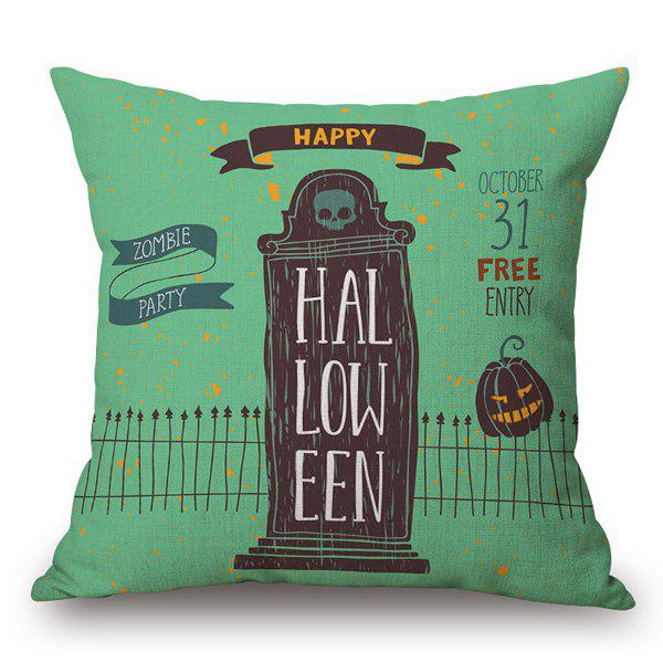 Cushion Skull House Halloween Pillow CaseHome<br><br><br>Color: GREEN