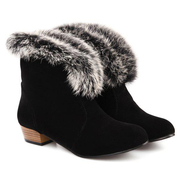 Suede Faux Fur Low Heel Ankle Boots oukitel u20 plus 5 5 4g smartphone quad core android 6 0 2gb 16gb