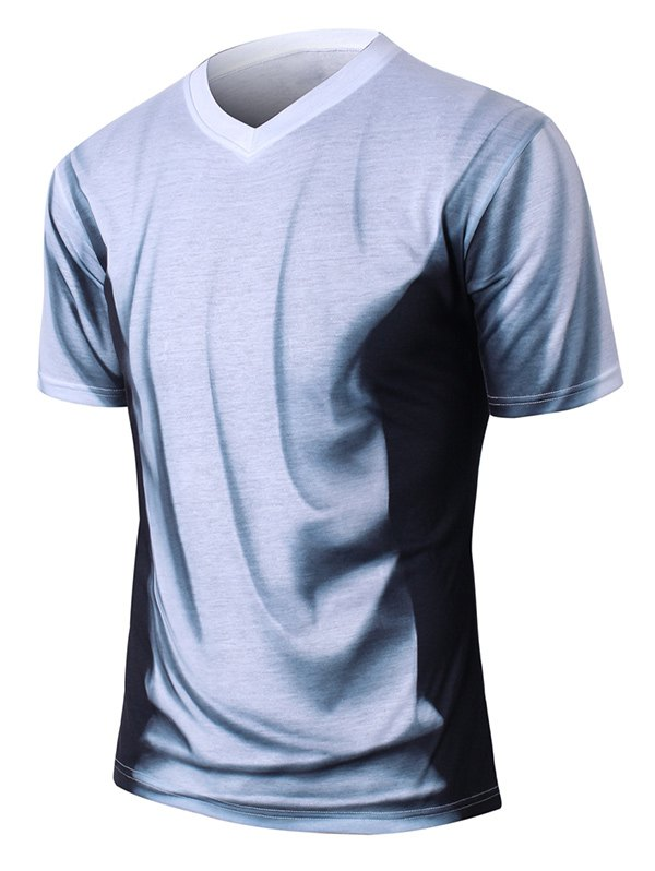Short Sleeve V-Neck Ombre T-Shirt - GRAY L