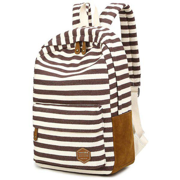 Suede Splice Canvas Striped Backpack - COFFEE