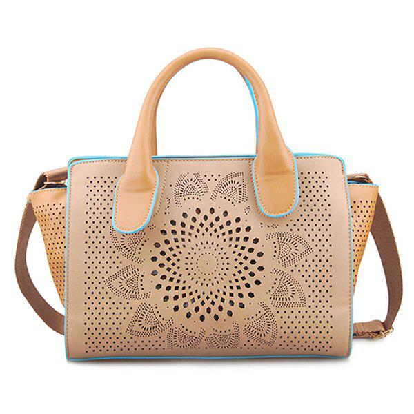 Flower Pattern PU Leather Engraving Tote BagBags<br><br><br>Color: APRICOT