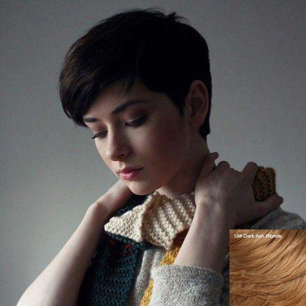 2018 Handsome Short Straight Pixie Cut Side Bang Capless Human Hair