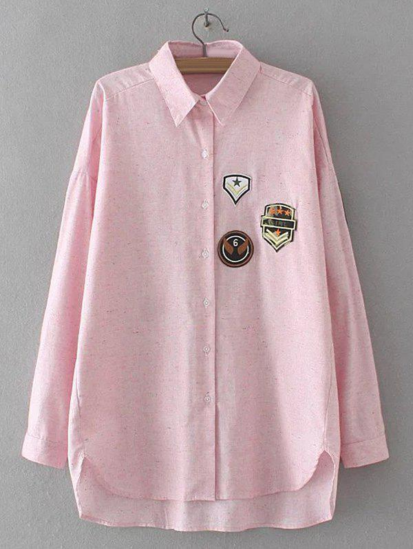 2018 applique embroidered asymmetric shirt shallow pink xl for Applique shirts for sale