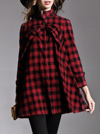 Bowknot Checked Loose Shirt - RED L
