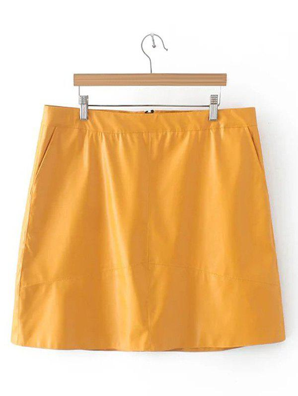 Slim Zipper Flying PU Leather Skirt - DEEP YELLOW 4XL