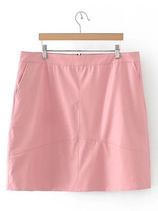 Slim Zipper Flying PU Leather Skirt - SHALLOW PINK 2XL