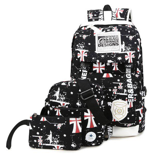 Cross Stars Print Canvas Backpack - BLACK