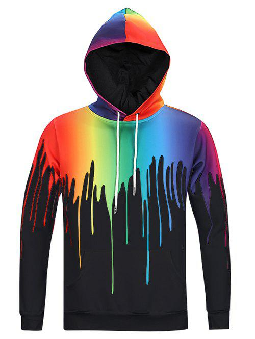 New Look Paint Splash Print Long Sleeves Hoodie For Men - BLACK 3XL
