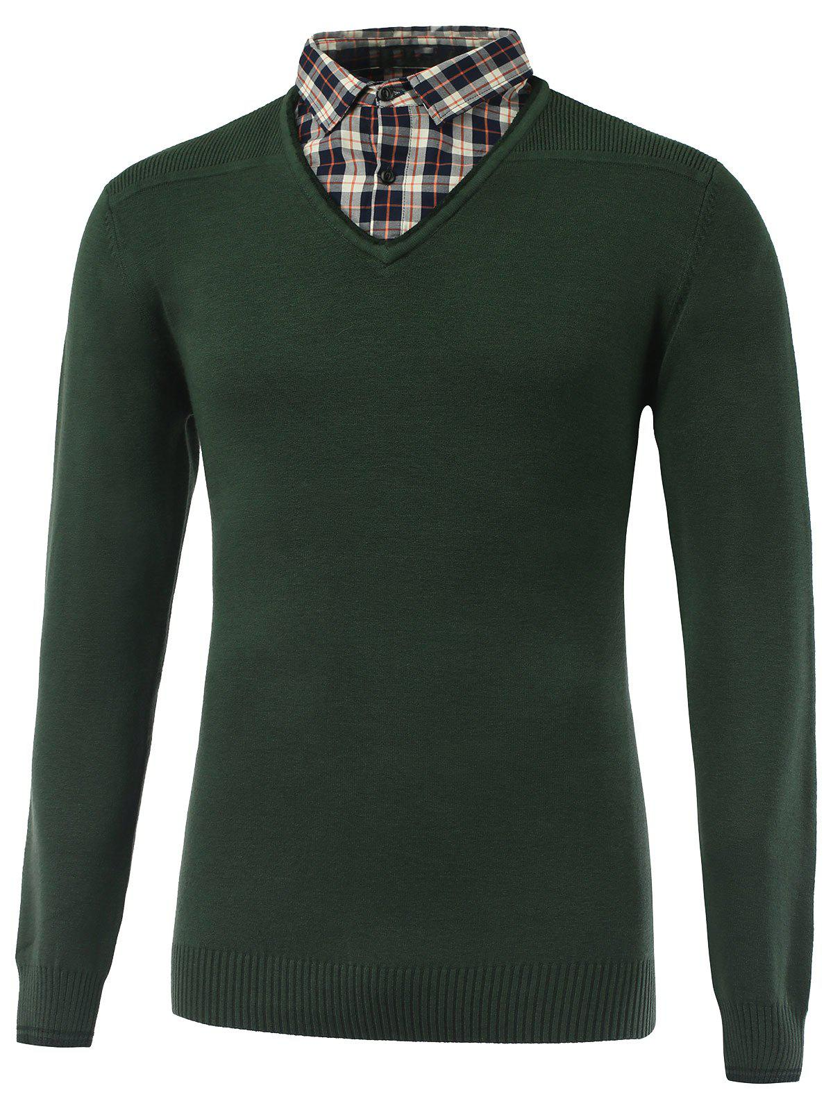 Buy Rib Cuff Plaid Long Sleeve Pullover Knitwear BLACKISH GREEN