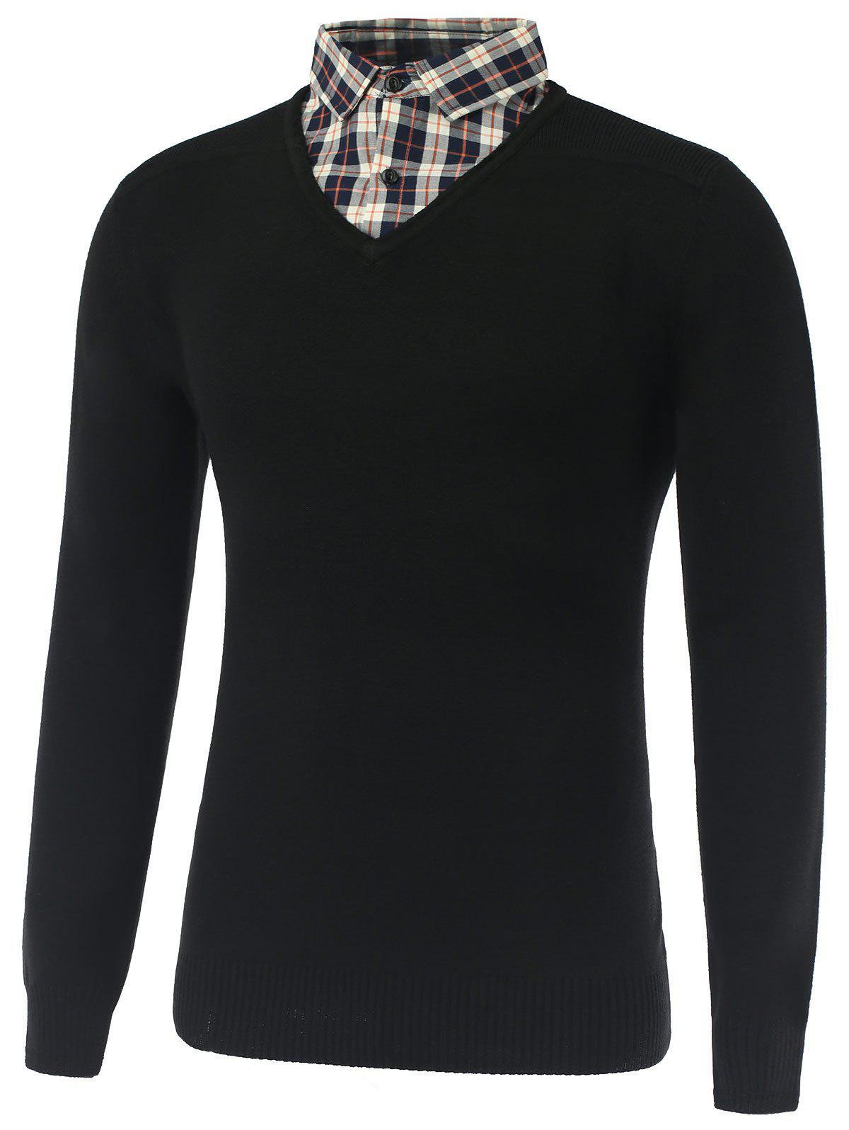 Rib Cuff Plaid Long Sleeve Pullover Knitwear - BLACK 2XL