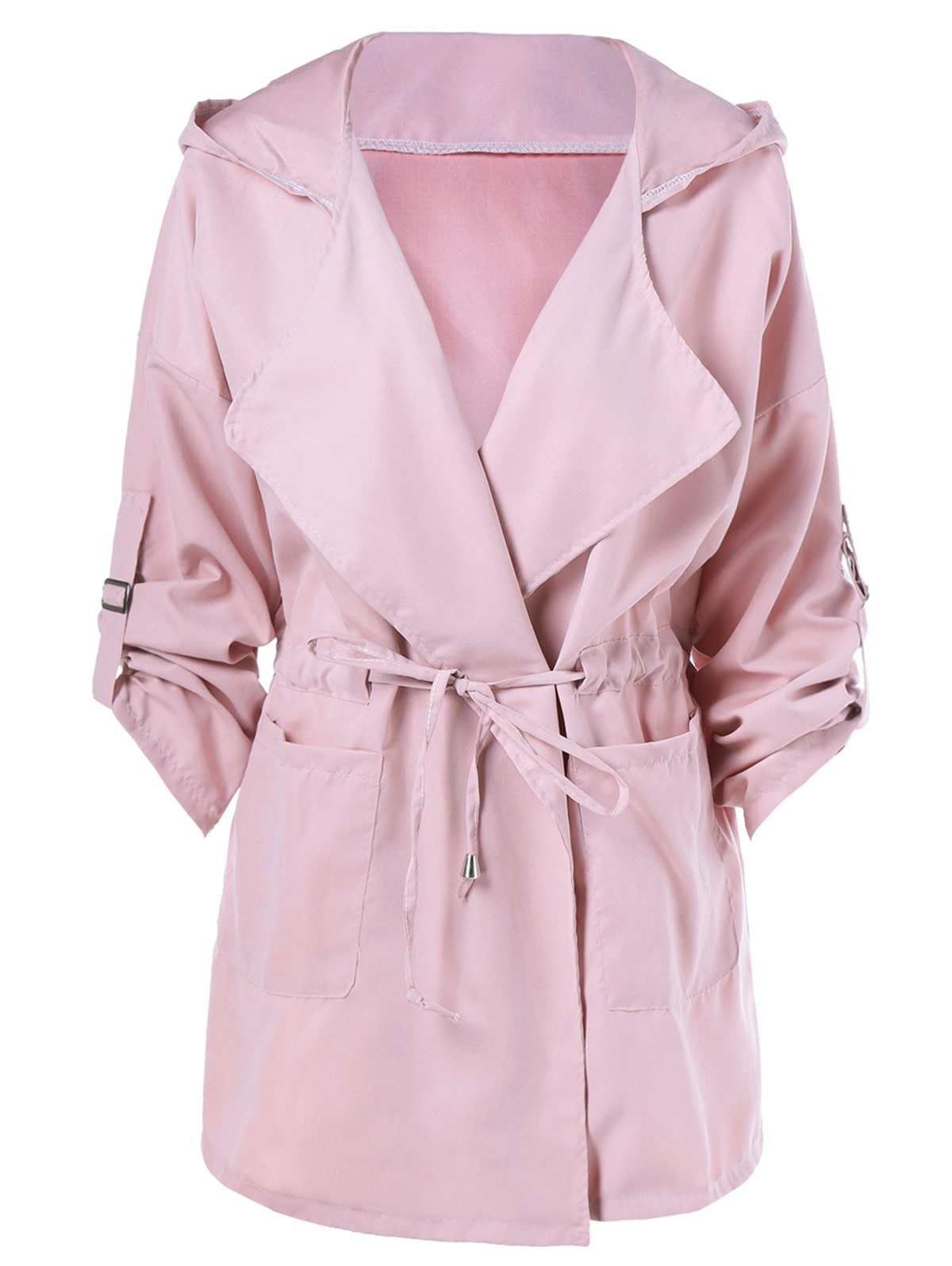 Hooded Drawstring Trench Coat - PINK S