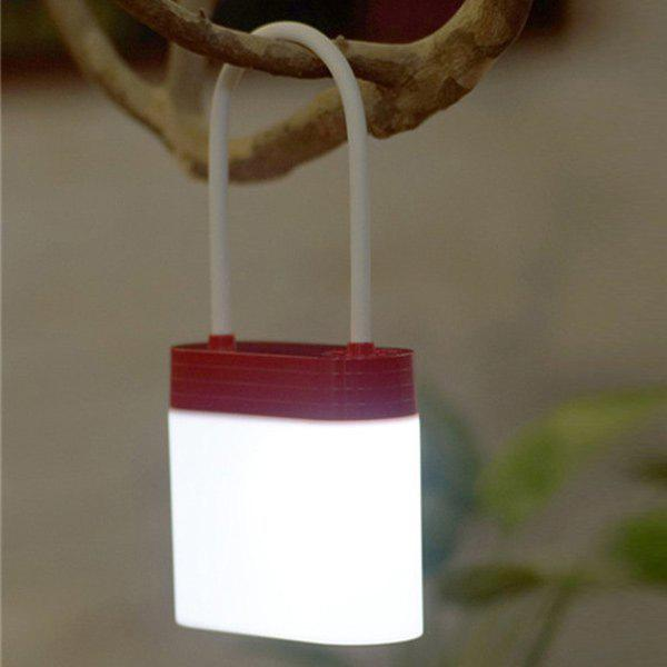 Creative Multifunction Rechargeable Padlock Shape LED Night Light - RED