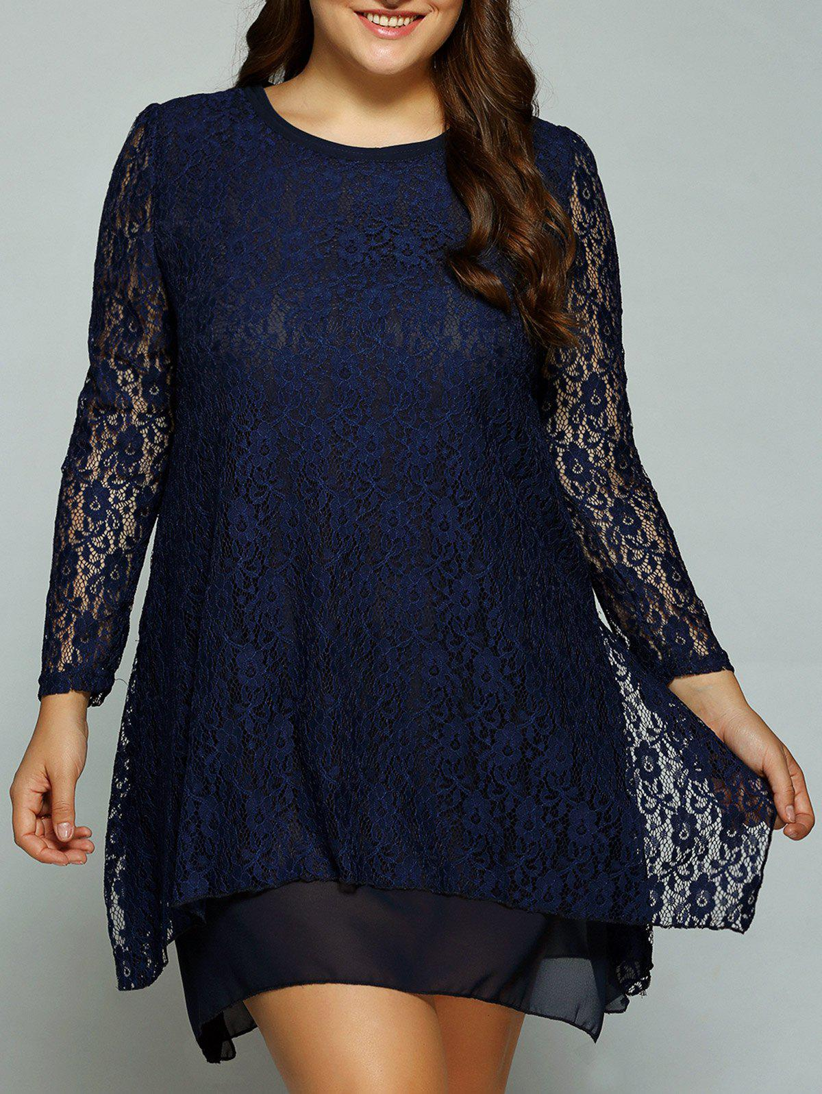 2018 Plus Size Layered Asymmetrical Lace Dress CADETBLUE XL In ...