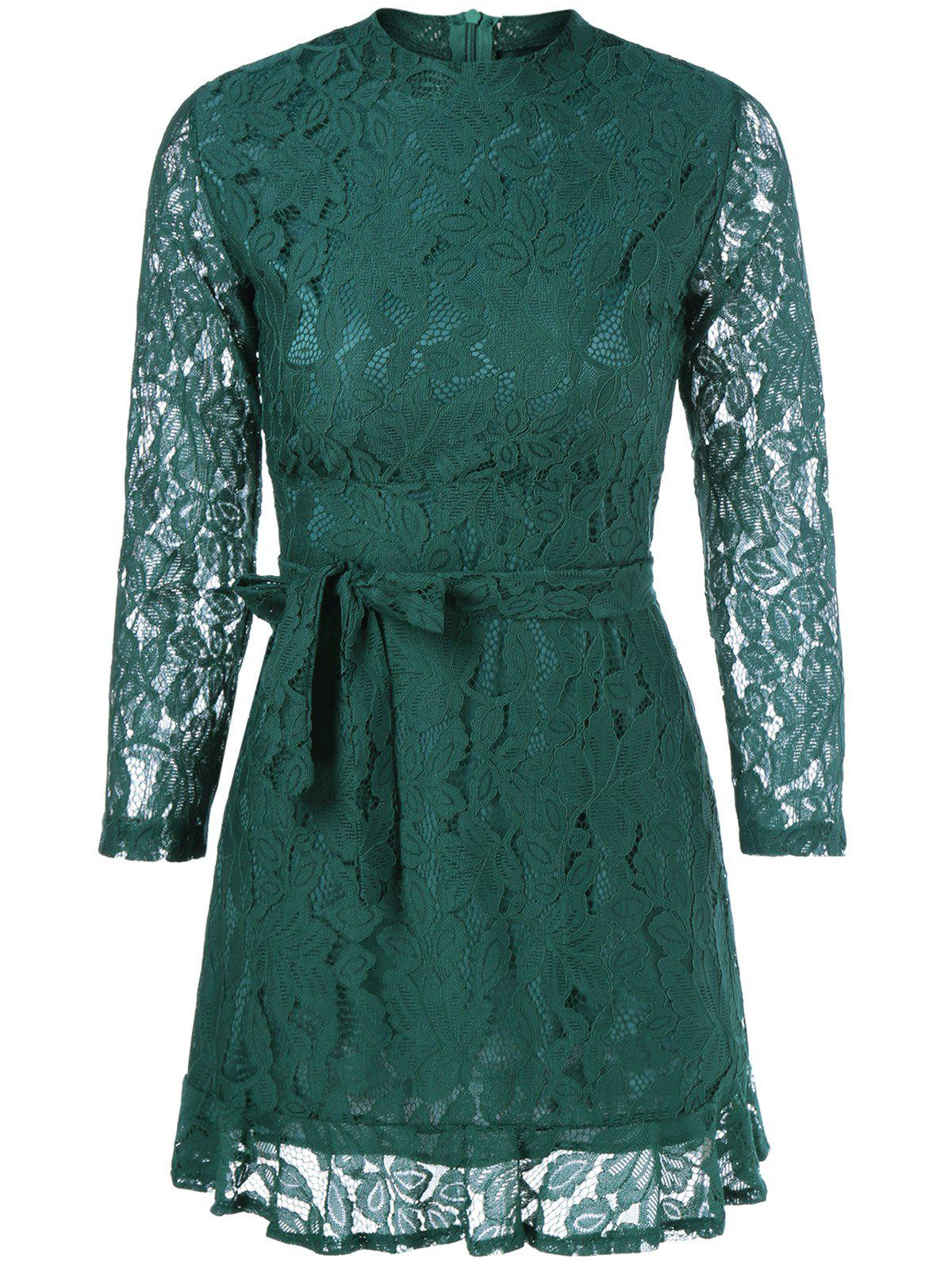 Belted Sheer Lace DressWomen<br><br><br>Size: M<br>Color: GREEN