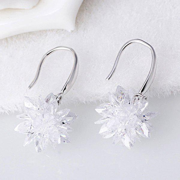Fake Crystal Floral Hook Earrings - WHITE