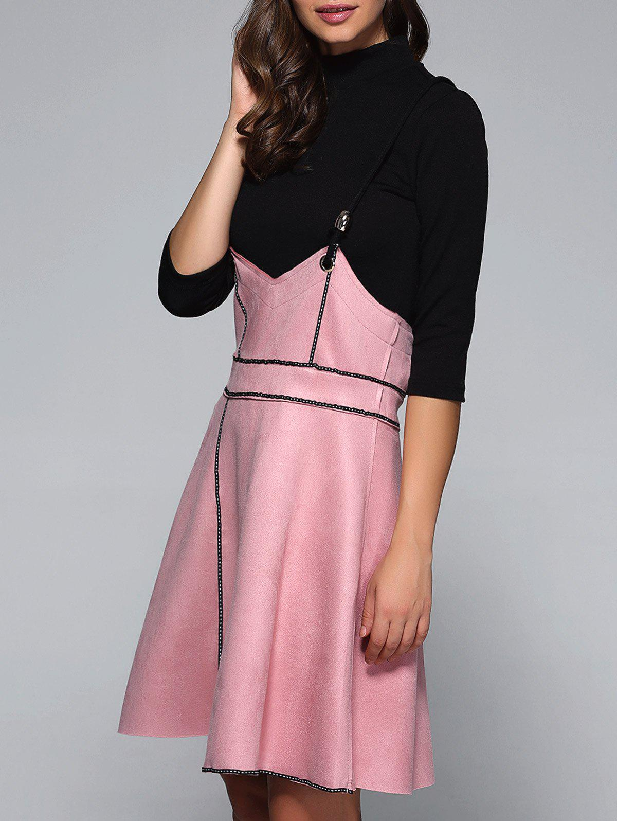 Plain Knitwear + Cami Suede Zippered Dress Twinset - PINK L