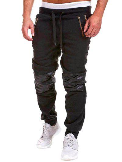 Insert Zippered Drawstring Jogger Pants - BLACK M