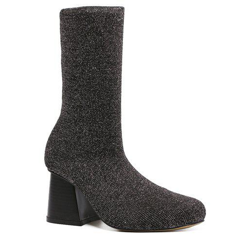 Sequined Square Toe Chunky Heel Sock Boots - BLACK 38