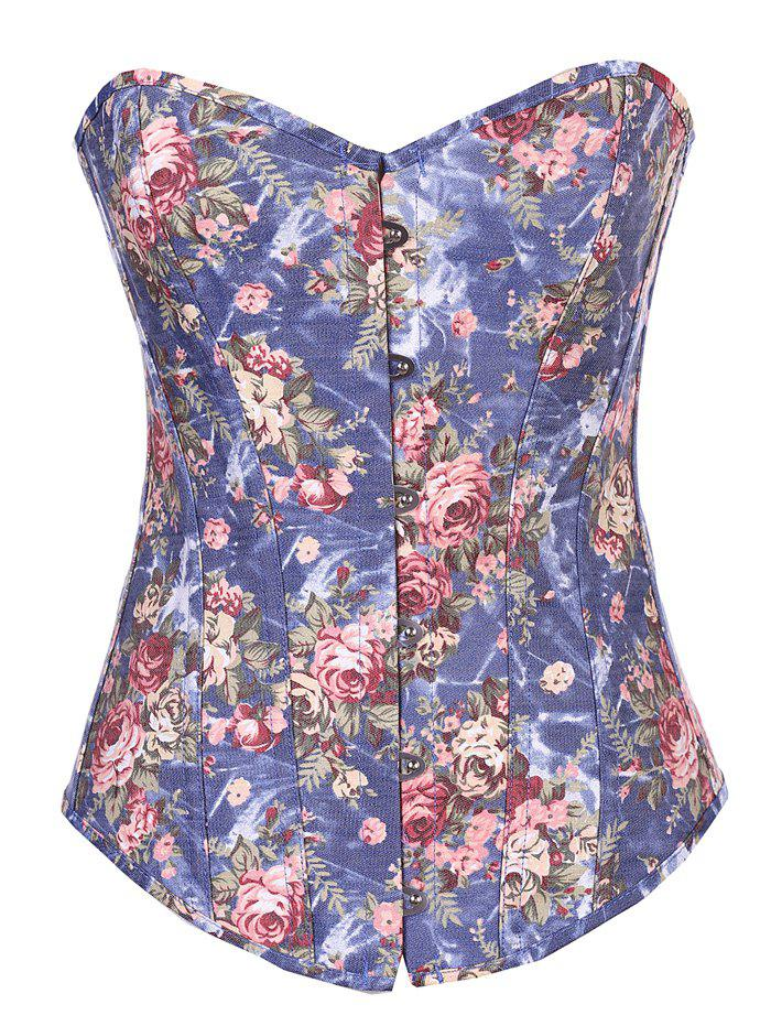 Flower Print Skinny Lace-Up Corset - Bleu XL