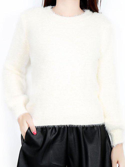 Fur Embellished Textured SweaterWomen<br><br><br>Size: ONE SIZE<br>Color: OFF-WHITE