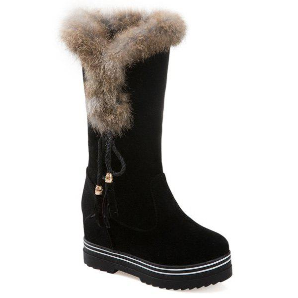 Faux Fur Tassels Mid Calf Boots faux leather side zipper mid calf boots
