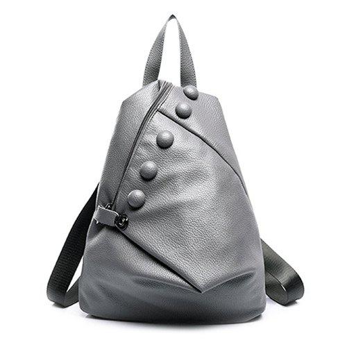 Fashionable Solid Colour and Buttons Design Women's Satchel - GRAY