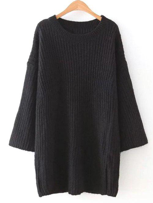 loose casual sweater dress black one size in sweater