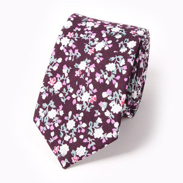 Casual Tiny Floral Cluster Pattern 6CM Width Tie - WINE RED